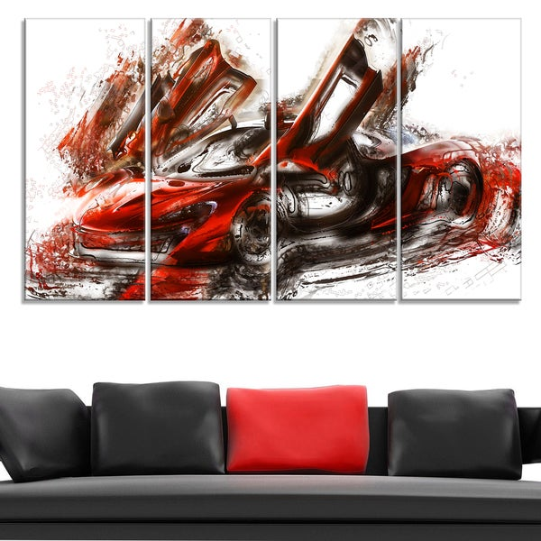 Burnt Red Sports Car Large Gallery Wrapped Canvas