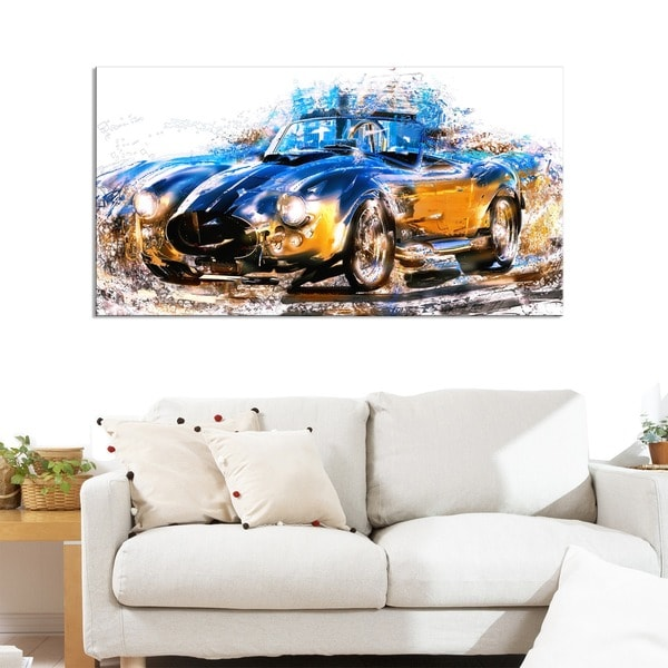 Blue and Orange Roadster Small Gallery Wrapped Canvas - 32 in. wide x 16 in. high