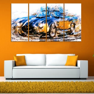 Blue and Orange Roadster Large Gallery Wrapped Canvas