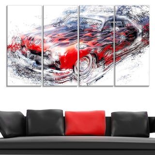 American Burn Out Car Art Large Gallery Wrapped Canvas