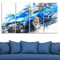 Burning Rubber Blue Super Car Large Gallery Wrapped Canvas