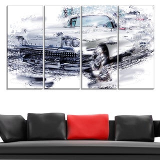 Grey Muscle Car Large Gallery Wrapped Canvas