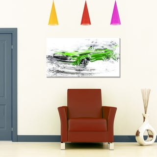 Green American Classic Car Small Gallery Wrapped Canvas