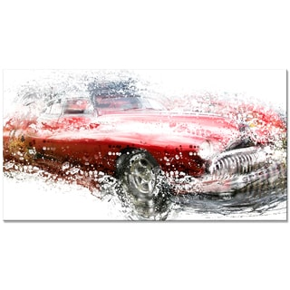 Red Classic Luxury Car Small Gallery Wrapped Canvas