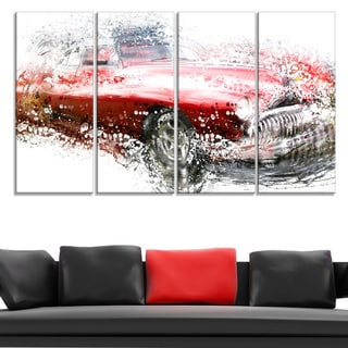 Red Classic Luxury Car Large Gallery Wrapped Canvas