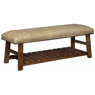 Christopher Knight Home Foster Mid Brown and Beige Accent Bench