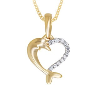 Divina Yellow Gold Over Silver 1/10ct TDW Diamond Heart Dolphin Necklace (H-I, I2-I3)
