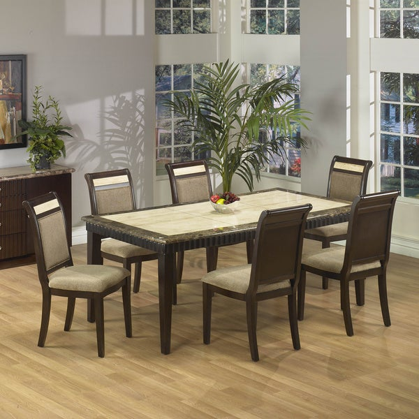 Best Dining Table Set: Shop Corallo Marble 7-piece Top Rectangular Dining Set