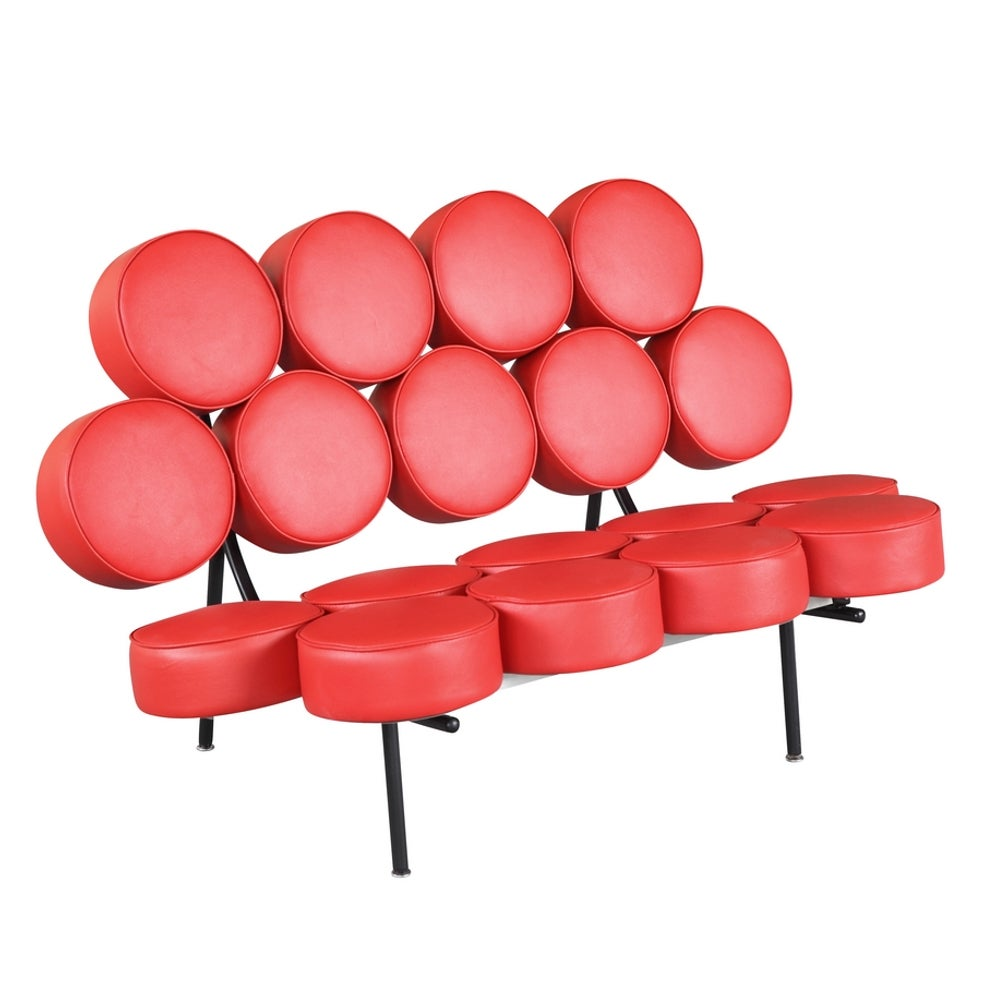 Leather Circle Sofa (Red) (Steel)