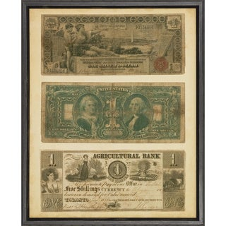 Antique US Currency Framed Art Print - Green