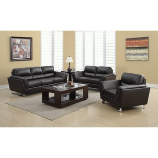 Dark Brown Bonded Leather Match Loveseat with Chome Legs
