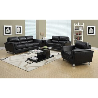 Black Bonded Leather Match Loveseat with Chome Legs