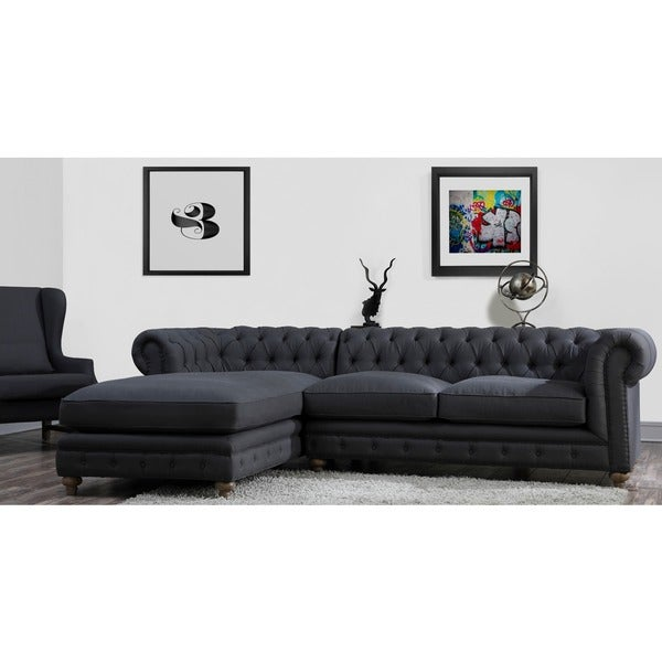 ba9be850c8723 Shop Oxford Grey Linen LAF Tufted Sectional Sofa - Free Shipping ...
