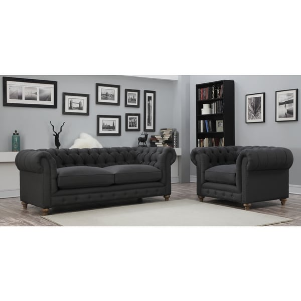oxford grey linen living room set free shipping today overstock