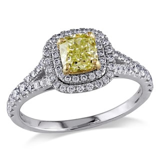 Miadora Signature Collection 14k Gold 1 3/8ct TDW Yellow and White Diamond Ring
