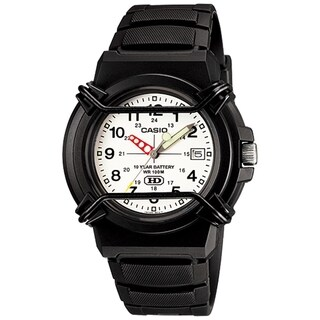 Casio Men's HDA-600B-7BV 'Casual' Black Rubber Watch - White