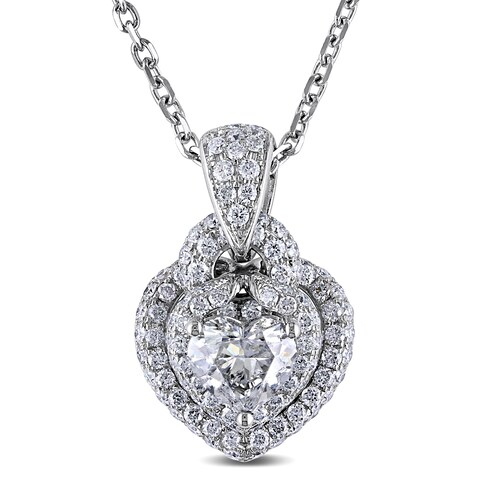 Miadora Signature Collection 14k White Gold 1 3/4ct TDW Diamond Heart Halo Necklace