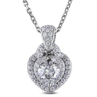Miadora Signature Collection 14k White Gold 1 3/4ct TDW Diamond Heart Halo Necklace