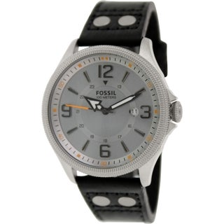 Fossil Men's Recruiter FS4937 Grey Leather Quartz Watch