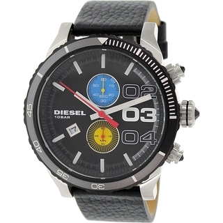 Diesel Men's Double Down DZ4331 Black Leather Quartz Watch