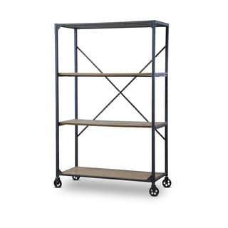 Baxton Studio Caribou Industrial Rustic Wood and Metal Bookcase