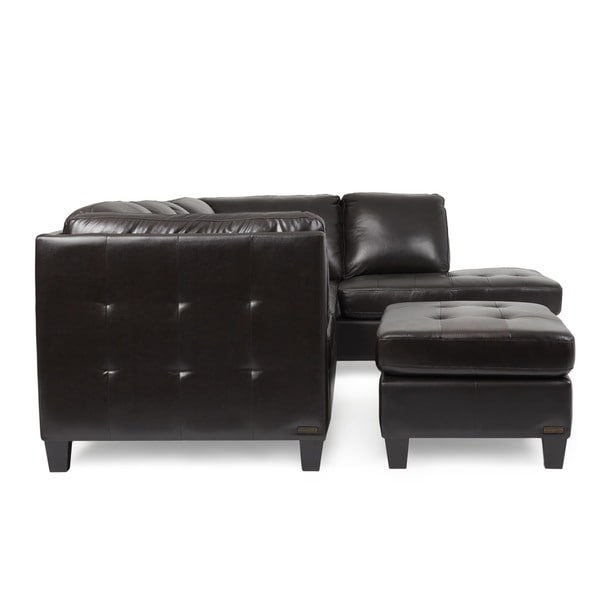Abbyson Charlie Top Grain Leather Sectional And Cocktail Ottoman   Free  Shipping Today   Overstock.com   16933625