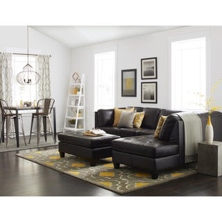 Abbyson Charlie Top Grain Leather Sectional and Cocktail Ottoman