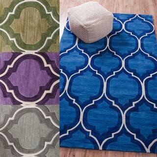 Well Woven Lattice Wave Geometric Moroccan Trellis Ultra Plush Blue, Green, and Purple Area Rug (3'6 x 5'6)
