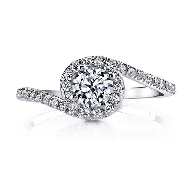 14k White Gold 1 1/5ct TDW Round Halo Diamond Engagement Ring