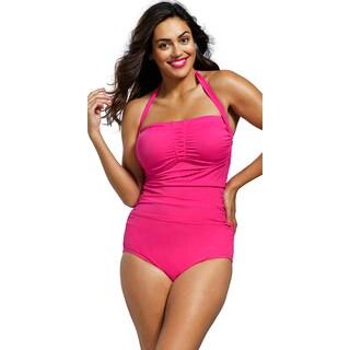 Shore Club Women's Plus Size Rose Shirred Front Bandeau/ Halter Swimsuit