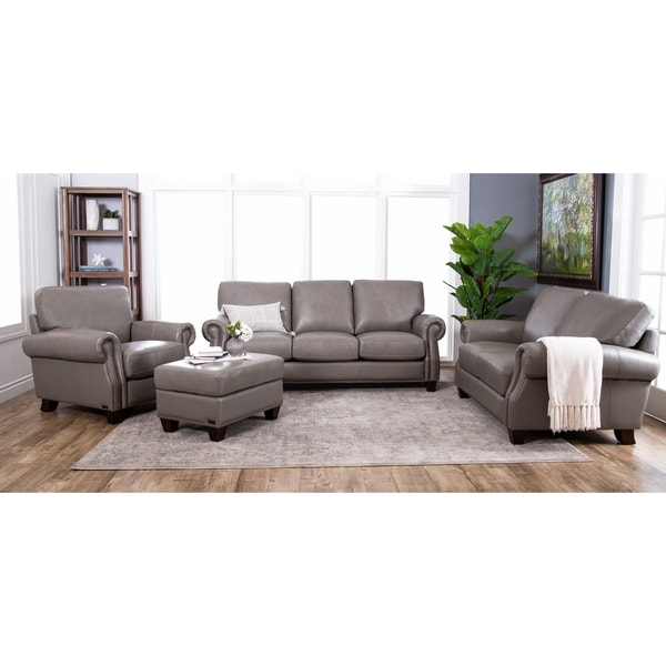 Shop Abbyson Landon Top Grain Leather 4 Piece Living Room Set Free Shipping Today Overstock