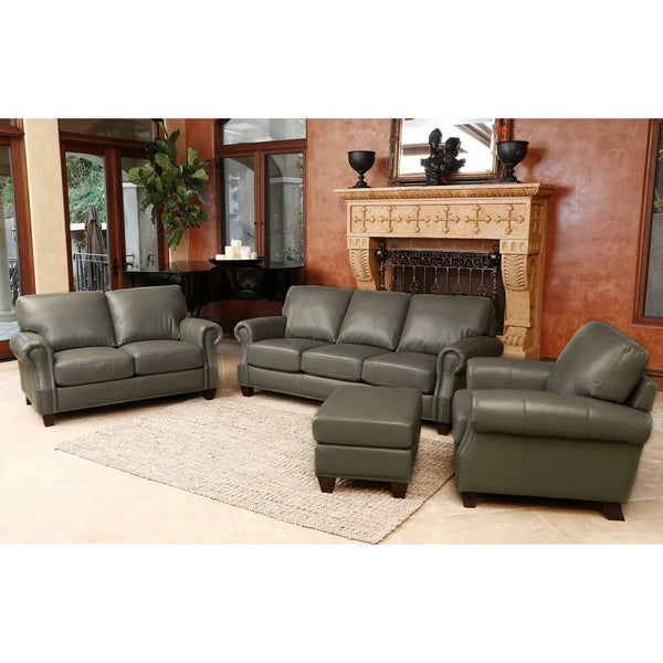Abbyson Landon Top Grain Leather 4 Piece Living Room Set Free Shipping Today Overstock