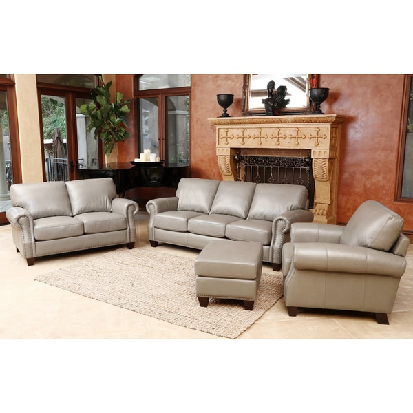 Abbyson Landon Top Grain Leather 4 Piece Living Room Set Free Shipping Today