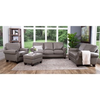 Abbyson Landon Top Grain Leather 4 Piece Living Room Set