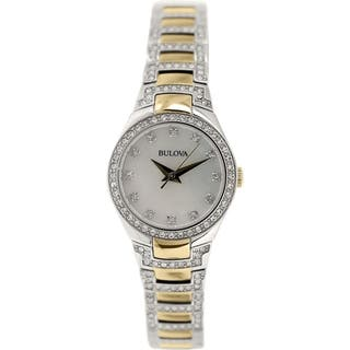 Bulova Women's Crystal 98L198 Stainless Steel Quartz Watch|https://ak1.ostkcdn.com/images/products/9762417/P16933748.jpg?impolicy=medium