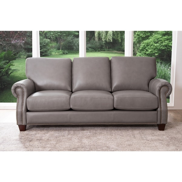 top grain leather sofa sale shop abbyson landon top grain leather sofa on 8549
