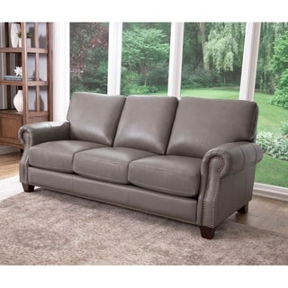 Superbe Abbyson Landon Top Grain Leather Sofa