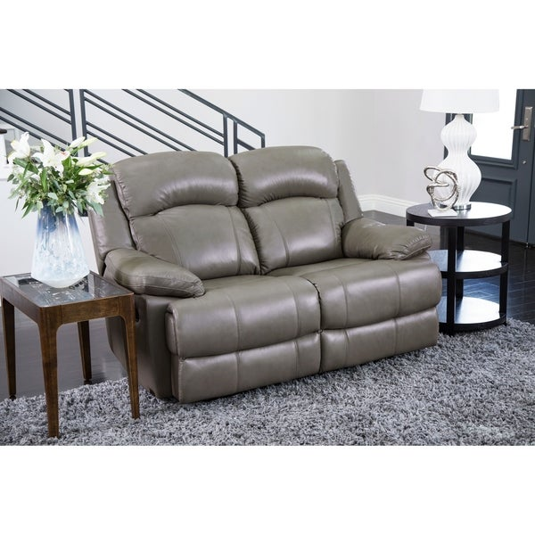 Shop Abbyson Clarence Top Grain Leather Reclining Loveseat