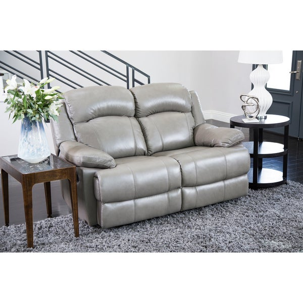 Abbyson Clarence Top Grain Leather Reclining Loveseat Free Shipping Today Overstock 16933827