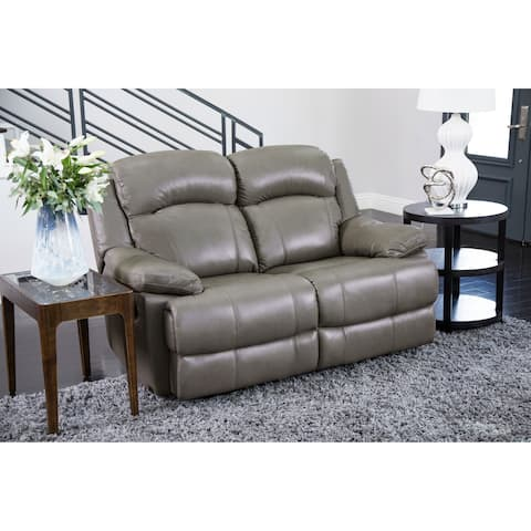Abbyson Clarence Grey Top Grain Leather Reclining Loveseat