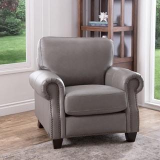 Abbyson Landon Grey Top Grain Leather Armchair
