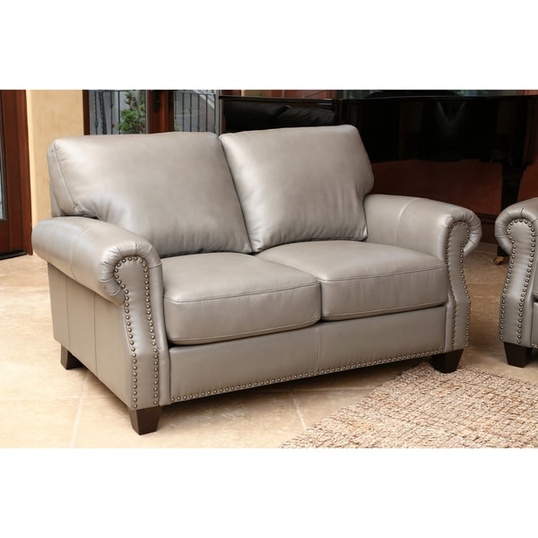 Abbyson Landon Top Grain Leather Loveseat Free Shipping