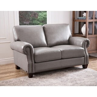 Abbyson Landon Top Grain Leather Loveseat