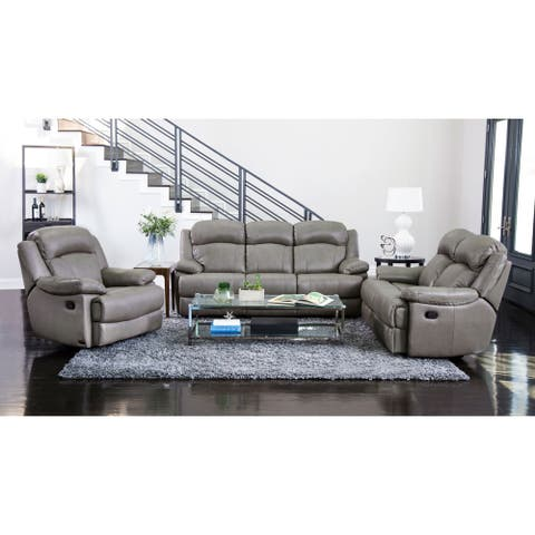Abbyson Clarence Grey Top Grain Leather Reclining 3 Piece Living Room Set