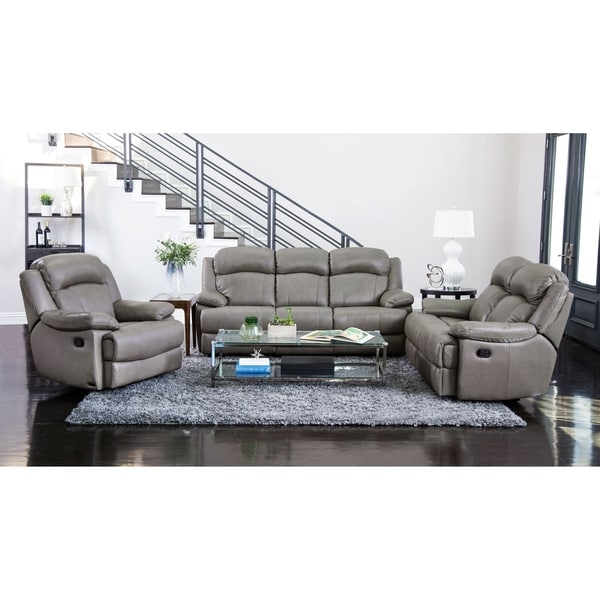 Abbyson Clarence Grey Top Grain Leather Reclining 3 Piece Living Room Set. Opens flyout.
