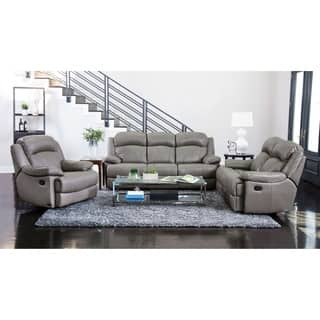 contemporary leather living room furniture. Abbyson Clarence Top Grain Leather Reclining 3 Piece Living Room Set Contemporary Furniture Sets For Less  Overstock com