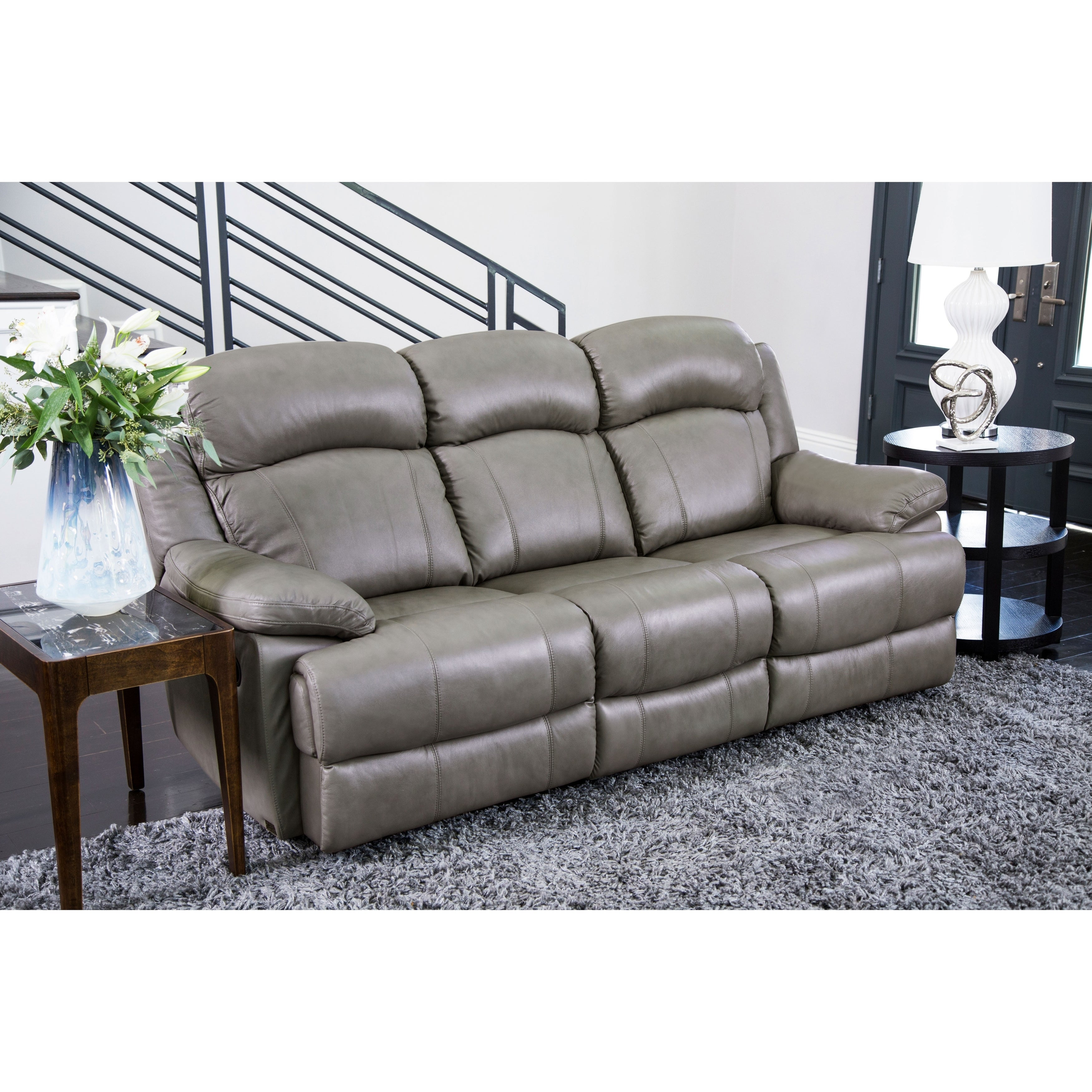 Abbyson Clarence Top Grain Leather Reclining Sofa (Grey)