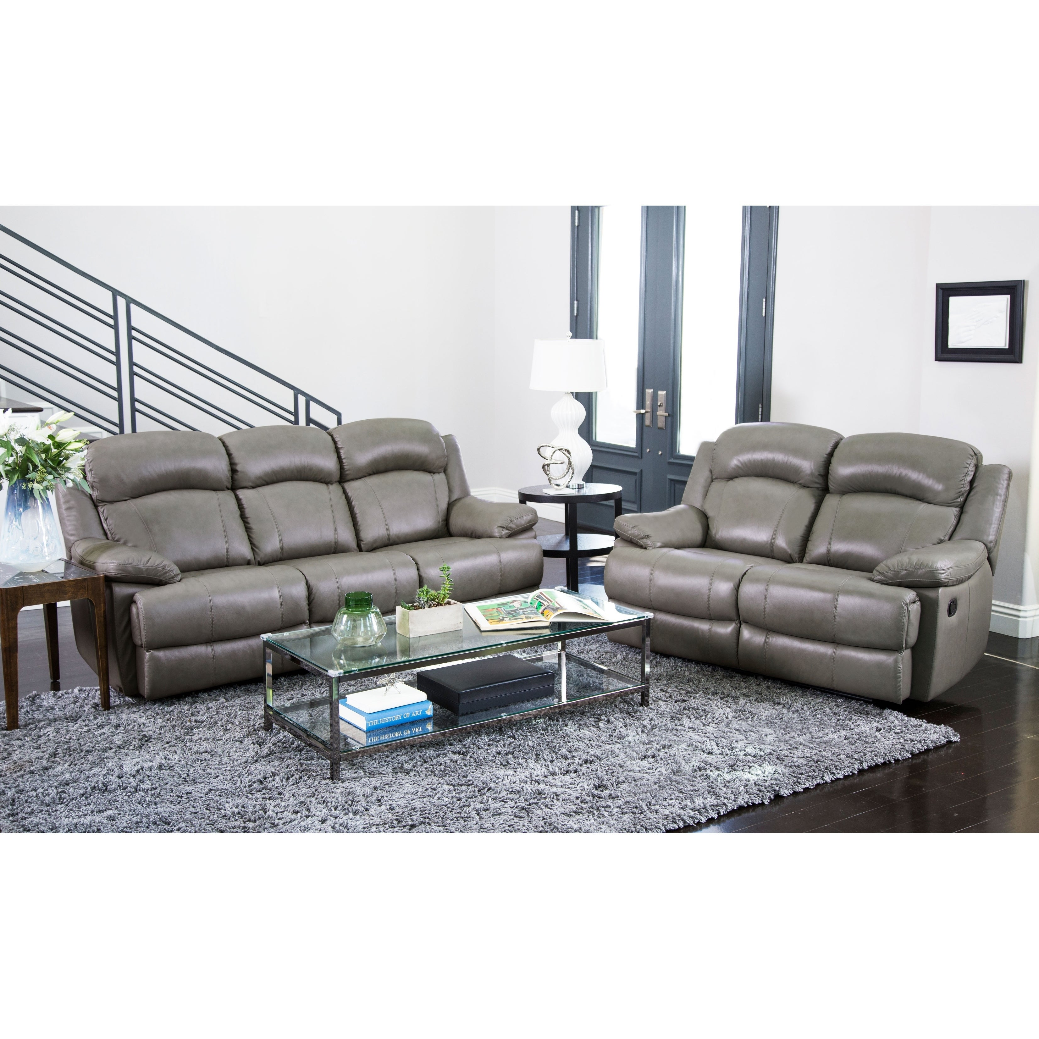 Abbyson Clarence Grey Top Grain Leather Reclining 2 Piece Living Room Set