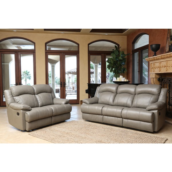 abbyson clarence top grain leather reclining sofa and loveseat