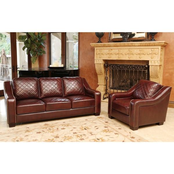 abbyson living sophia burgundy top grain leather sofa and armchair set - Top Grain Leather Sofa